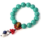 Pretty Round Xinjiang Green Turquoise Tiger Eye Red Agate And Lotus Lapis White Shell Stretch Bracelet under $ 40