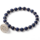 Simple Fashion Style Single Strand Runde Lapis perler armbånd med 925 Sterling Sølv Lotus seedpod Accessory