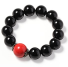 Simple Classic Design Natural Black Agate And Cinnabar Bracelet With Sterling Silver Accessory