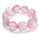 Beautiful Heart Shape Natural Star Rose Quartz Elastic Bracelet