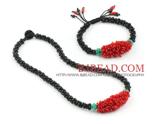 Natural Red Coral and Black Agate Set ( Necklace and Matched Bracelet )