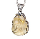 Fashion Simple Design Citrine Fox Pendant Necklace With 925 Sterling Silver Chain