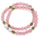 Lovely Fashion Natural Brazil Rose Quartz And Olivine And Sterling Silver Beads Double Strands Elastic Bracelet