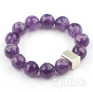 14mm Round Faceted Natural Amethyst Beaded Elastic Bangle Bracelet with Thailand Silver Accessory