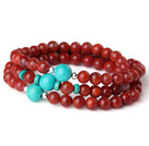 Gorgeous Fashion Multi Strands Red Agate og grøn turkis armbånd mindre end 30 euros