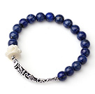 Sample Design Single Strand Natural Lapis Bracelet With 925 Sterling Silver Fish Accessory