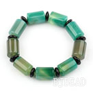 Natural Cylinder Shape Green Agate and Abacus Shape Black Agate Elastic Bangle Bracelet