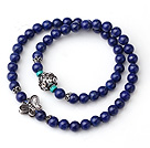 Prøve design Dobbelt Strands Natural 4A Lapis Armbånd med 925 Sterling Silver Butterfly And Lotus Accessory