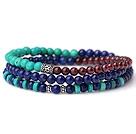 Sample Design Three Strands Natural Lapis Turquoise And Garnet Bracelet