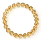 Beautiful Round Citrine Beads Single Strand Elastic Bracelet