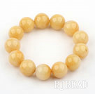 14mm Round Natural Yellow Jade Elastic Bangle Bracelet