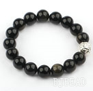 12mm Round Natural Obsidian Stretch Bangle Bracelet with Sterling Silver Pixiu Accessory