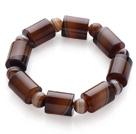 Vintage Style Single Strand Brazil Banded Agate Bracelet