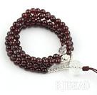 Natural Garnet Prayer Bracelet with Sterling Silver Accessories and Clear Crystal (108 Beads)