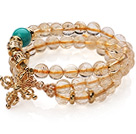 Amazing Three Strands Natural Citrine Amulet Bracelet With Golden Cross Charm