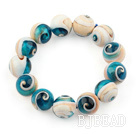 14mm Eye Shape Natural Blue Nautilus Beaded Elastic Bangle Bracelet