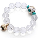 Summer Fashion Ronde Clear Crystal kralen elastische armband met vergulde Amulet Accessory