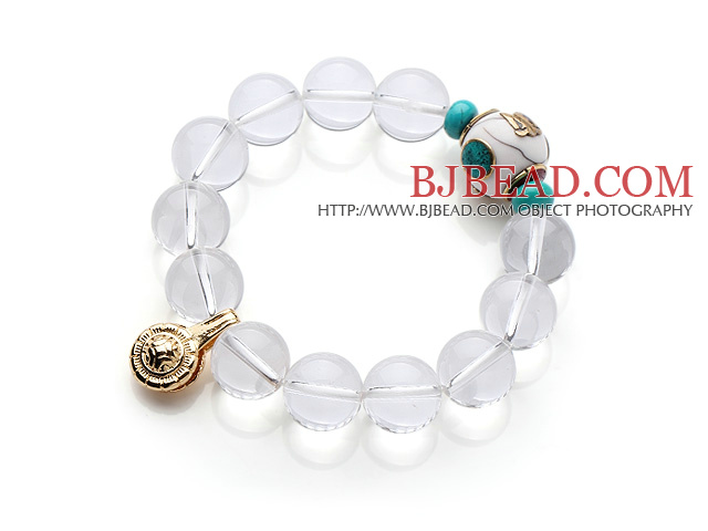 Summer Fashion Round Clear Crystal Beads Elastic Bracelet With Gold Plated Amulet Accessory