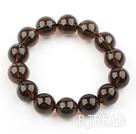 14mm Natural A Grade Smoky Quartz Beaded Elastic Bangle Bracelet
