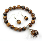 Classic Design Tiger Eye Set ( Beaded Elastic Bracelet and Matched Earrings )