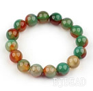 12mm Natural Peacock Agate Beaded Elastic Bangle Bracelet