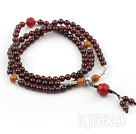 Natural Garnet Prayer Bracelet with Sterling Silver Accessories and Lotus Accessory and Yellow Jade (108 Beads)