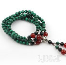 Natural Malachite Prayer Bracelet with Sterling Silver Accessories and Black Agate and Carnelian (108 Beads)