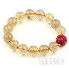 12mm Round Natural Lemon Quartz Stretch Bangle Bracelet with Lotus