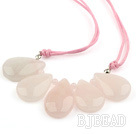 Simple Style Drop Rozenkwarts Fan Shape Ketting met Roze Draad