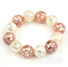 16mm Mosaics White and Pink Shell Stretch Bangle Bracelet