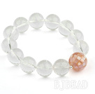 14mm Natural Clear Crystal and Mosaics Pink Shell Stretch Bangle Bracelet
