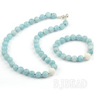 Natural Aquamarine and Carved White Sea Shell Set ( Necklace and Matched Bracelet )