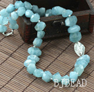Natural Incidence Angle Aquamarine Necklace with Thailand Silver Leaf Accessory