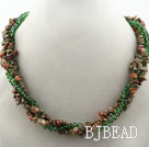 Multi Strands Green Piebald Stone and Green Crystal Necklace