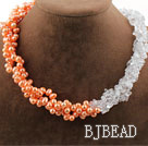 Assorted Multi Strands Pink Freshwater Pearl and Clear Crystal Necklace