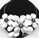 Big Style White Shell Flower Necklace with Black Imitation Leather Cord