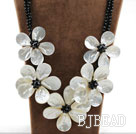 Big and Shining Style White Lip Shell Flower and Black Crystal Necklace under $ 40