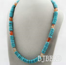 Disc Shape Turquoise and Agate Necklace with Metal Accessories and S Shape Clasp