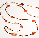 Natural Color Agate and Crystal Long Style Necklace