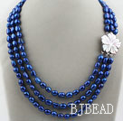 Three Strands 8-9mm Dark Blue Baroque Pearl Necklace with White Shell Flower Clasp