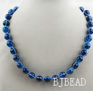 Fashion Style Round 10mm Blue Agate Beaded Woven Drawstring Necklace