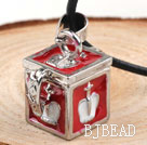 Fashion Style Red Color Square Shape Wish Box Metal Pendant Necklace with Leather Thread