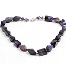Classic Design Purple Black Solid Cutting Crystallized Agate Necklace