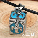 Fashion Style Blue Color Square Shape Wish Box Metal Pendant Necklace with Leather Thread