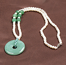 Fashion Nautral White Freshwater Pearl Donut Shape Aventurine Pendant Necklace