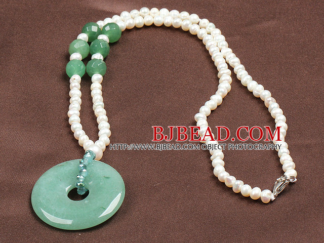 Fashion Nautral White Freshwater Pearl Donut Shape Aventurine Pendant Necklace