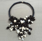 Fantastic Statement Style Natural Freshwater Pearl Black Agate Opal Crystal Flower Party Necklace under $ 40