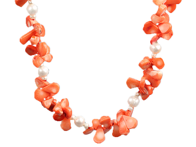 White Freshwater Pearl and Orange Coral Choker Necklace