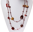 Long Style Red Jasper and Silver Leaf Agate and Crystal Necklace