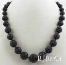 Carved Round Black Volcanic Rock Stone Graduated Beaded Necklace